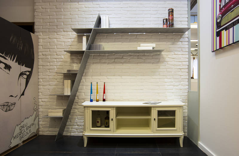 Libreria di design in alluminio f0 by aguzzoli a production for Arredamento libreria design